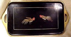 Items similar to Japanese Hand Painted Fighting Roosters Lacquer Tray on Etsy Paint Fight, Japanese Words, Secondary Color, Roosters, 1920s, Tray, Hand Painted, Antiques, Painting