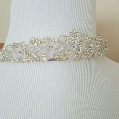 Gorgeous Silver &Cz Tiara W/Delicate Flower Design
