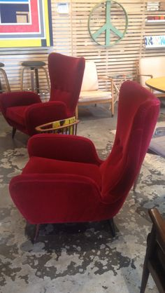 Style: Early Wingback Mid Century Modern (Edward Wormley Inspired) (1st dibs sells for $6500.00) Age: Circa 1940s Material: Upholstered Red Mohair Fabric Condition: Excellent Origin: USA Set of Two $3