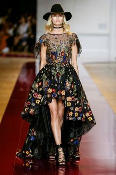 Zuhair Murad Fall winter 2016 collection- Long printed dress with assymetrical skirt, showered with crystals
