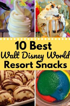 What are the best snacks that you can find at Walt Disney World Resort hotels? Here are 10 of our favorite snacks enjoy while resort hopping. Best Disney Resort, Disney Resort Hotels, Walt Disney World Vacations, Hotel Disney, Disneyland Vacation, Orlando Vacation, Disney Cruise, Disney Dining Tips, Disney Tips