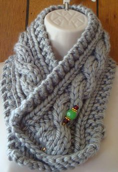 Check out this item in my Etsy shop https://www.etsy.com/listing/203480983/cowl-scarf-gray-cabled-scarf-chunky