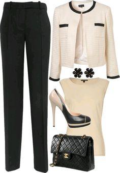Cream and black business attire