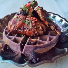 Fig-Soy Sauce Korean Fried Chicken with Ube Waffles. It's like I'm discovering food for the first time! Fried Chicken And Waffles, Sweet Potato Waffles, Korean Fried Chicken, Fried Chicken Recipes, Pancakes And Waffles, Ube Recipes, Waffle Recipes, Cooking Recipes, Bon Appetit