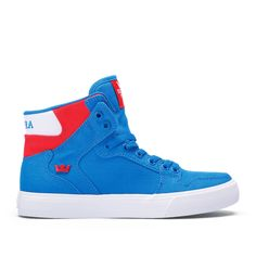 Purchase SUPRA Footwear online, stay updated on latest news and events. Supra Shoes, Royal Red, Shoes Online, High Tops, Latest Fashion, Trainers, Red And White, High Top Sneakers, Footwear