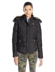 5e43b484652c0 Amazon.com  U.S. Polo Assn. Women s Diamond Quilted Puffer Jacket   Clothing. Diamond QuiltPuffer ...