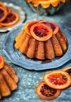 Olive oil and semolina syrup cakes with candied blood oranges   Supergolden Bakes