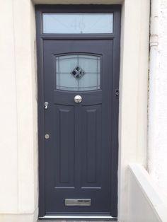 A popular design with our customers! The fabulous Anthracite Grey, Newark style, Rockdoor composite door with a modern, bespoke toplight installed by COVE Windows. #Rockdoor #compositefrontdoor #anthracitegrey