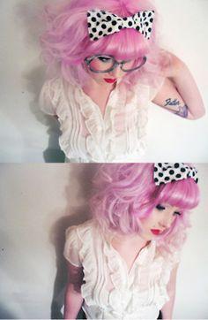 Pink Hair, Polka Dot Bow