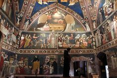 1320-25 circa,Basilica di San Nicola da Tolentino (Tolentino)The Cappellone di San Nicola is a Gothic chapel that opens to the cloister. The walls and ceiling are covered with early-14th century, Giottesque frescoes, attributed variously to the Master of Tolentino, the Master of the Magi of Fabriano, or Pietro da Rimini, depicting scenes from the Life of St Nicholas of Tolentino, Life of the Virgin, and episodes of the life of Christ.