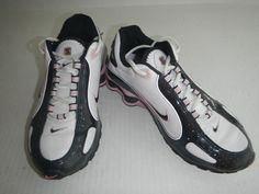 NIKE SHOX NZ WOMENS SIZE 7 RUNNING WALKING SHOES WHITE BLACK PINK LEATHER VGUC #Nike #RunningCrossTraining