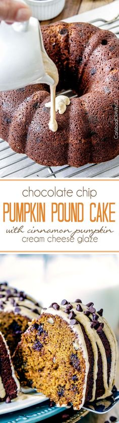 Moist rich Chocolate Chip Pumpkin Cake infused with chocolate and bathed in in Cinnamon Pumpkin Cream Cheese Glaze is SO good! The only cake you need for Fall!