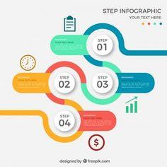 4つのステップで着色された円形のインフォグラフィック