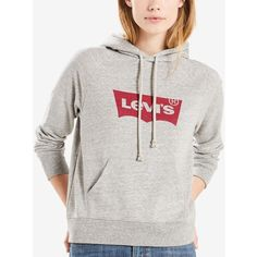 Levi's Logo Hoodie (128.400 COP) ❤ liked on Polyvore featuring tops, hoodies, grey, logo hoodie, hoodie top, gray top, hooded sweatshirt and grey top
