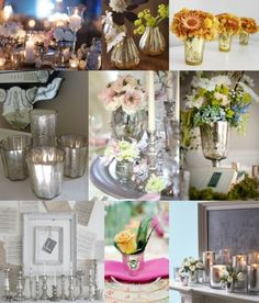 One of our favourite trends for weddings this year is the use of mercury glass as decorations. Mercury glass has a mottled metallic finish Diy Wedding Backdrop, Wedding Table Decorations, Wedding Themes, Wedding Styles, Wedding Ideas, Wedding Inspiration, Wedding Props, Wedding Fun, Inspiration Boards