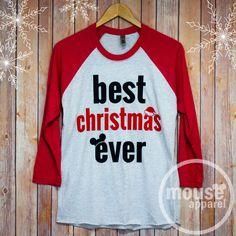 Best Christmas Ever Disney Raglan Shirt/Disney Shirt/Best Christmas Ever Unisex Raglan/Disney Christmas Shirt by MouseApparel on Etsy https://www.etsy.com/listing/478046768/best-christmas-ever-disney-raglan