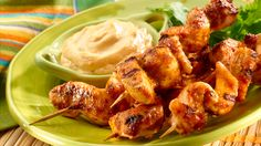Four words: Flavor Packed Finger Food. These Chipotle Cilantro Chicken Skewers will bring perfection to your next game day get together. Process first 6 ingredients in a blender until smooth. Stir in cilantro. Remove 1 tbsp of mixture & combine w/ Mayonnaise. Refrigerate. Thread chicken onto 8 skewers & arrange in nonaluminum baking dish; rub w/ remaining olive oil mixture. Cover & marinate in refrigerator 30 mins. Grill or broil chicken until chicken is cooked, turning once.