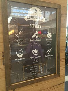 Barber Shop price list, nice simple display #art #layout #design #barber #hair…