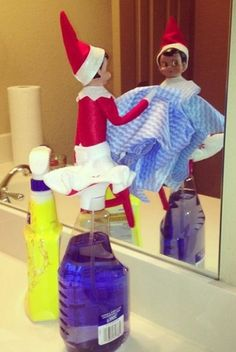 Elf on a Shelf - Showing how cool it is to help with chores