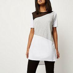 Grey asymmetric panel oversized t-shirt - plain t-shirts / tanks - t shirts / tanks - women