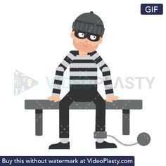 A white male criminal in prison striped clothes is sitting in his cell on a bench with a lock on his leg White Man, Animated Gif, Prison, Bench, Family Guy, Animation, Fictional Characters, Clothes, Art