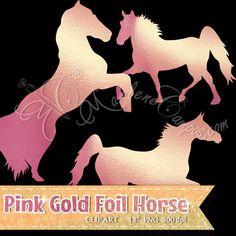 6 rosa oro caballo Clip Art caballo metálico por PaperArtbyMC