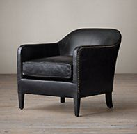 1950s French Tuxedo Leather Club Chair - restoration hardware