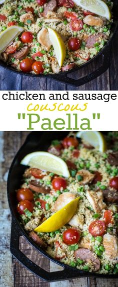 """Couscous """"Paella"""": Loaded with sausage, chicken, and lots of vegetables, this one-pan dish is as filling as it is easy! This fun twist on classic Paella uses couscous instead of rice for a 20-minute dinner recipe."""