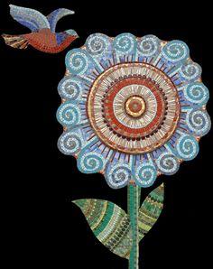 swirly flower black by Irina Charny Mosaic Crafts, Mosaic Projects, Mosaic Art, Mosaic Glass, Stained Glass, Glass Art, Mosaic Birds, Mosaic Flowers, Mosaic Designs