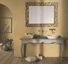 country classico Beige Bathroom, Beige Color, House Design, Rustic, Mirror, Country, Wood, Modern, Furniture