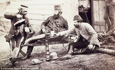 French and British soldiers spend time together outside Sevatapol during the Crimean War