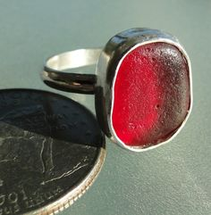hlseaglassjewelry-vcm - RUBY RED BEZEL ENGLISH SEA GLASS RING