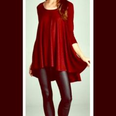 Cranberry tunic Gorgeous cranberry tunic. ️perfect for all those Holiday parties . Like new condition worn once ... Looks lovely with black leggins . Cherish Tops