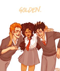 The Golden Trio: Harry Potter, Ron Weasley, and Hermione Granger by batcii on tumblr #harrypotter #fanart