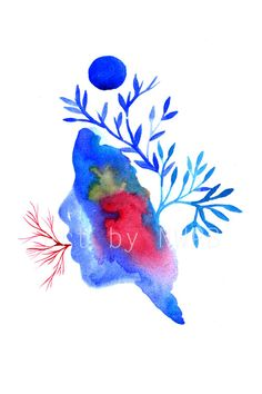 Blue dreams. Art print. Illustration by Toshisworld on Etsy