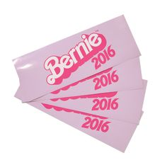 """Bernie Barbie ™ Bumper Stickers are here! Stick a 3""""x8"""" Bernie 2016 sticker on literally anything. 40% of proceeds to benefit Planned Parenthood. More information here."""