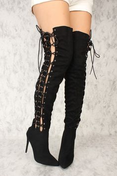 b4499fe09cf4f Sexy Black Double Lace Up Pointy Close 25To Thigh High Boots Faux Suede
