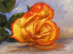 Red and Yellow Rose Oil Painting Still Life Flowers Art, painting by artist Debra Sisson
