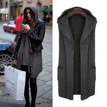 Large Size Autumn Winter Women Cardigans Sweaters 2017 New Casual Loose Hooded Sweater Vest Coat Plus Size Women Winter Clothing(China)
