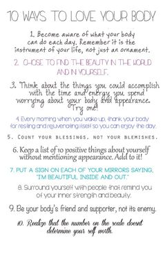 body-peace: Since its National Eating Disorder Awareness Week, give these ten things a shot! Body Love, Loving Your Body, When Youre Feeling Down, Affirmations Positives, Image Citation, Quotes Thoughts, Happy Thoughts, Positive Thoughts, Love You
