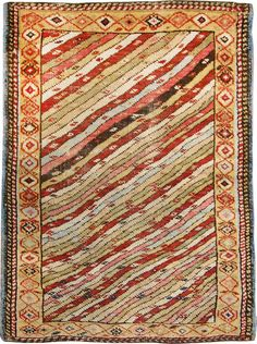 Small Collectible Tribal Antique Caucasian Kuba Rug 48857 DetailLarge