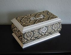French Jewelry Box, Shabby Chic, Bombe, Decoupage, Silver, Gold, Black: