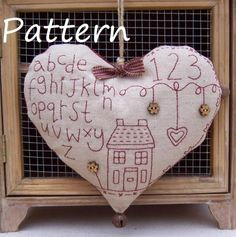 Redwork Stitchery Heart