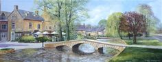 Terry Harrison - SRINGTIME IN BOURTON acrylic on canvas 14 x 36 inches
