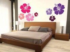 Wandsticker Hibiskus lila - erhältlich auf www.klebespass.de