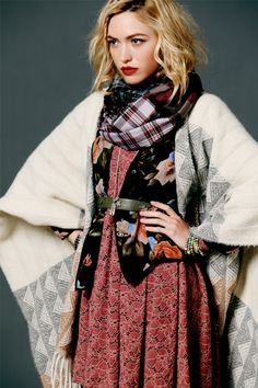free people : Product: Aurora Washed Tee, Floral Print Denim Jacket, Call of the Wild Fur Vest, Plaid Slouchy Trousers, Studded Ryder Boot