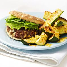 Blue Burger With Zucchini Parmesan Wedges #recipe