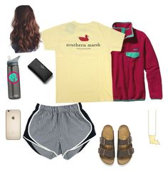 """""""IM BACK."""" by sadiepatton ❤ liked on Polyvore featuring Patagonia, Kate Spade, CamelBak and Birkenstock"""