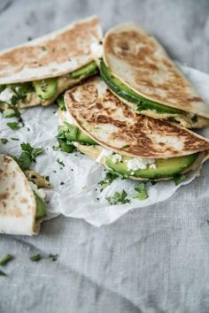 quesadillas with feta, hummus and avocado. YUM.