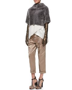 -5893 Brunello Cucinelli Marbled Shearling Fur Crop Jacket, Satin Crisscross Tank, Pleated Satin Pants & Lamé Leather Evening Gloves